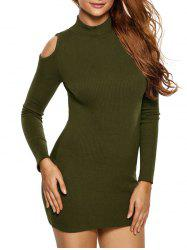 High Neck Cold Shoulder Ribbed Fitted Jumper Dress - ARMY GREEN