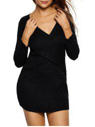 V Neck Bodycon Ribbed Sweater Dress -