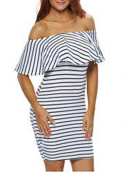 Off The Shoulder Flounce Striped Bodycon Dress - WHITE