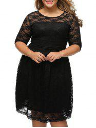 Lace High Waist Plus Size Dress