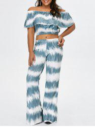 Off The Shoulder Crop Top and Flare Bottom Palazzo Pants