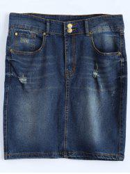Plus Size Dark Wash Denim Mini Skirt - DEEP BLUE
