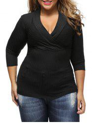 V Neck Plus Size Surplice Ribbed Sweater - BLACK
