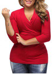 V Neck Plus Size Surplice Ribbed Sweater - RED