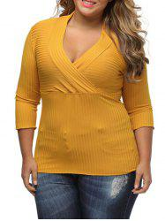 Plus Size Surplice Ribbed Sweater