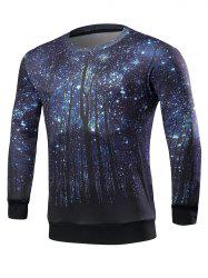 Tree Print Crew Neck Galaxy Sweatshirt