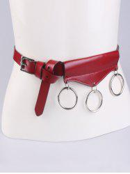 Faux Leather Belt with Metal Rings -