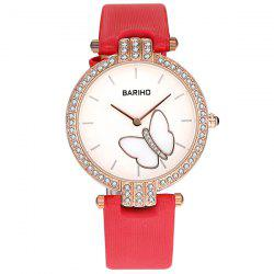 Rhinestone Butterfly Artificial Leather Watch