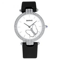 Rhinestone Butterfly Faux Leather Watch