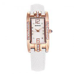 Rhinestone Geometric PU Leather Watch -