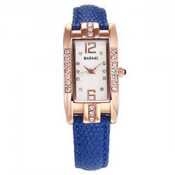 Rhinestone Geometric PU Leather Watch