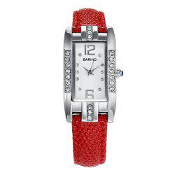 Vintage Rhinestone Geometric PU Leather Watch