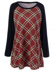 Plus Size Plaid Raglan Sleeves T-Shirt