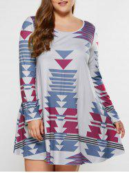 Plus Size Geometric Print A-Line Dress