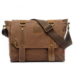 PU Panel Flapped Messenger Bag