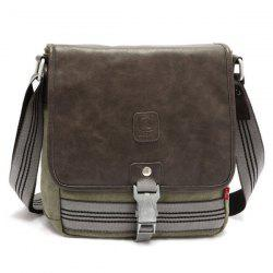 PU Leather Panel Crossbody Bag