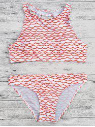 Wavy Print Cut Out Cropped Bikini Set