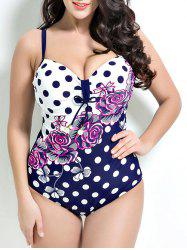 Polka Dot and Floral One-Piece Swimsuit