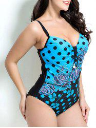 Polka Dot and Floral One-Piece Swimwear