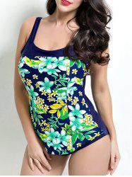 Open Back Overlay Floral One-Piece Swimwear