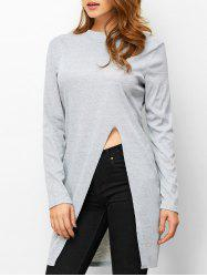 High Slit High Neck Fitting T-Shirt