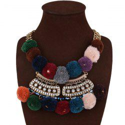 Pom Pom Ball Rhinestone Fake Collar Necklace