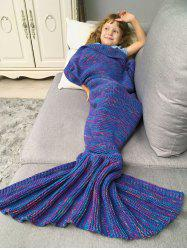 Crochet Knit Mix Color Mermaid Blanket Throw For Kids -