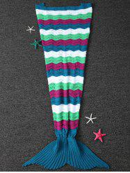 Warm Wave Striped Color Block Crochet Knit Mermaid Blanket Throw