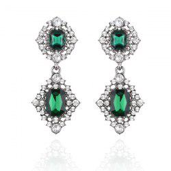 Rhinestoned Fake Emerald Baroque Earrings