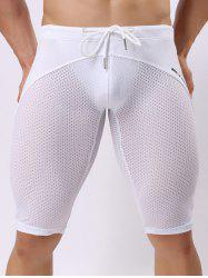 Skinny Drawstring Panel Mesh Sport Shorts - WHITE