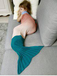 Ombre Crochet Knit Mermaid Chunky Blanket Throw for Kids -