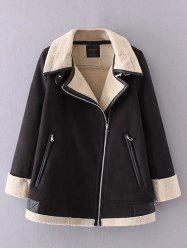 Zipper Fly Suede Coat