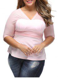 Plus Size Mesh Insert See Thru Blouse