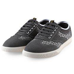 HLA Letter Print Lace Up Nubuck Casual Shoes for Men - GRAY