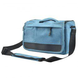 Colour Block Zipper Canvas Camera Bag