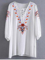 Lace Up Embroidery Tunic Mini Dress