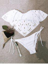 Cutwork Strapless String Bikini Set