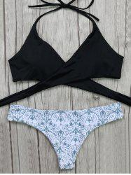 Halter Wrap Bikini Top and Baroque Print Bottoms - WHITE AND BLACK