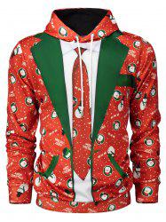 Hooded Christmas Tie Costume Snowman Print Hoodie - RED