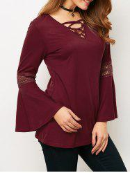 V Neck Lace-Up Flare Sleeve Loose T-Shirt -