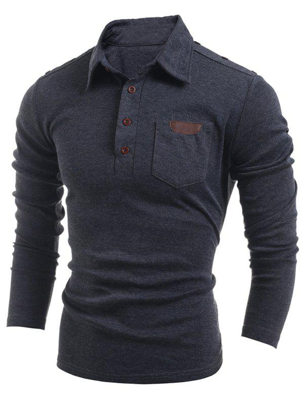 Buttoned Long Sleeve Pocket T-ShirtMEN<br><br>Size: M; Color: DEEP GRAY; Material: Polyester; Sleeve Length: Full; Collar: Turn-down Collar; Style: Casual; Embellishment: Button; Pattern Type: Solid; Season: Fall,Spring; Weight: 0.2820kg; Package Contents: 1 x T-Shirt;