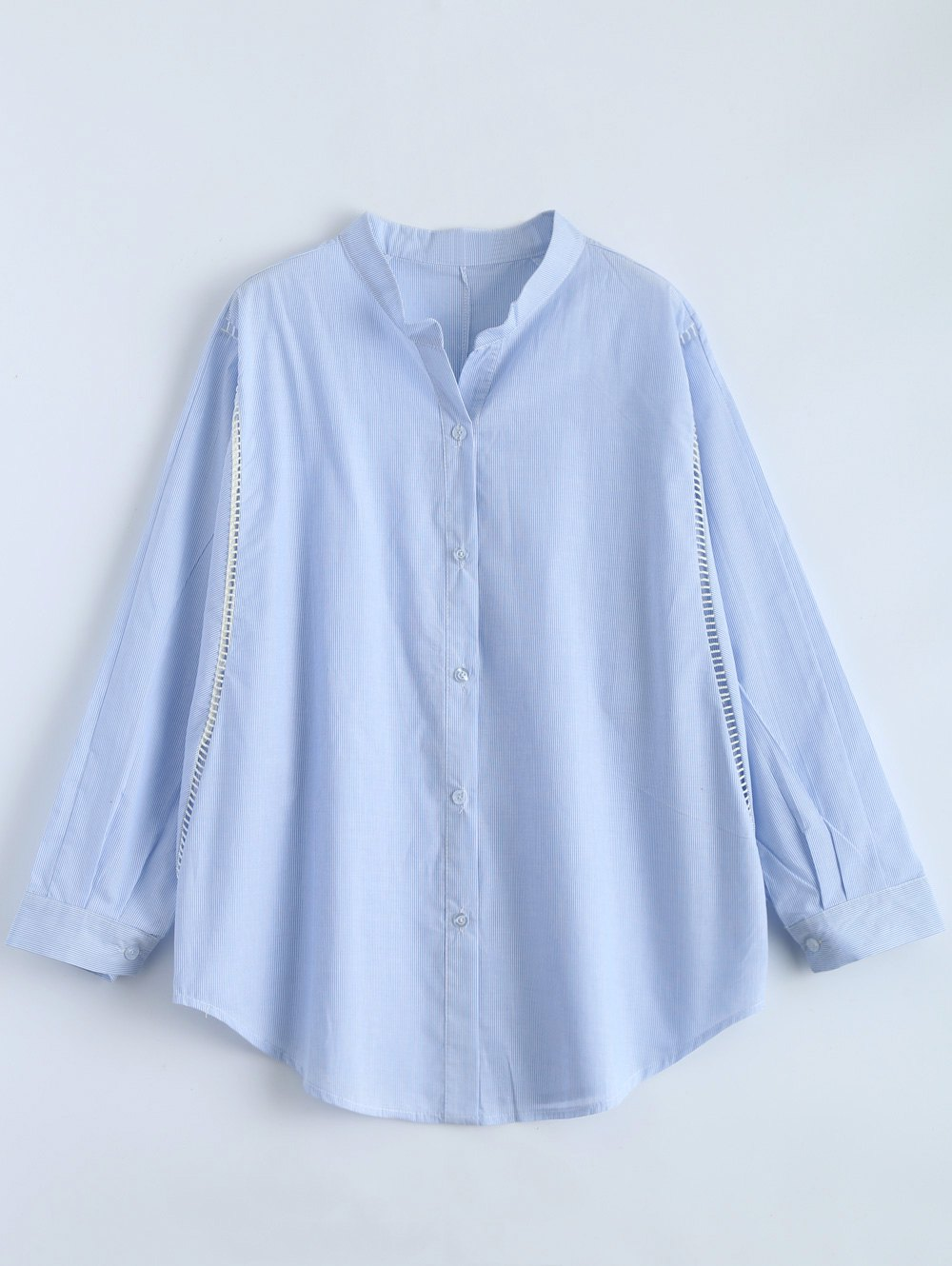 Store Plus Size Dolman Sleeve Pinstripe Formal Shirt