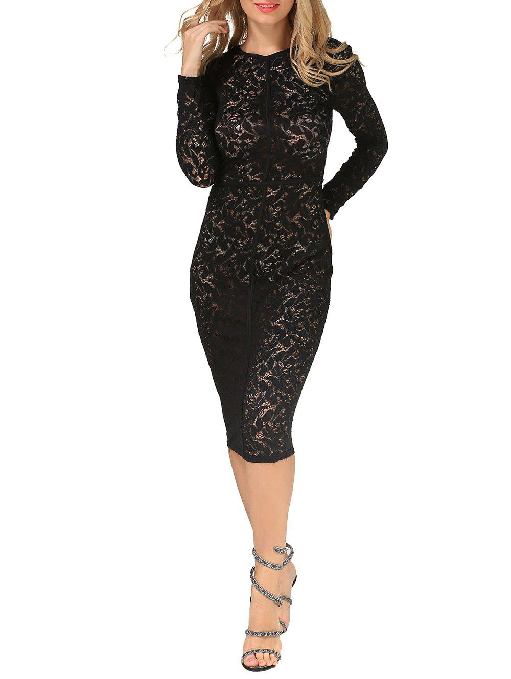 New Sheer Bodycon Long Sleeve Long Tight Lace Sheath Dress