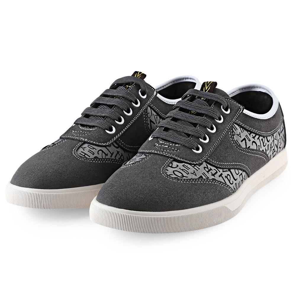 Discount HLA Letter Print Lace Up Nubuck Casual Shoes for Men