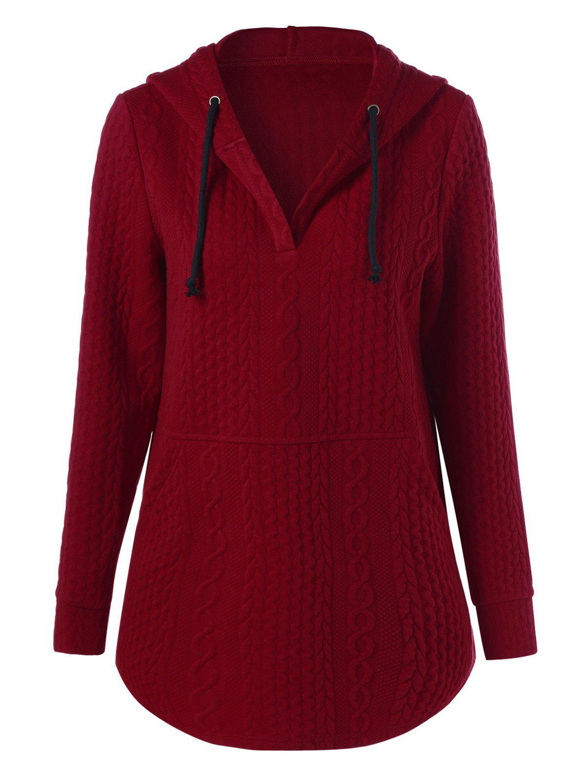 Online Pullover Drawstring Cable Knit Hoodie