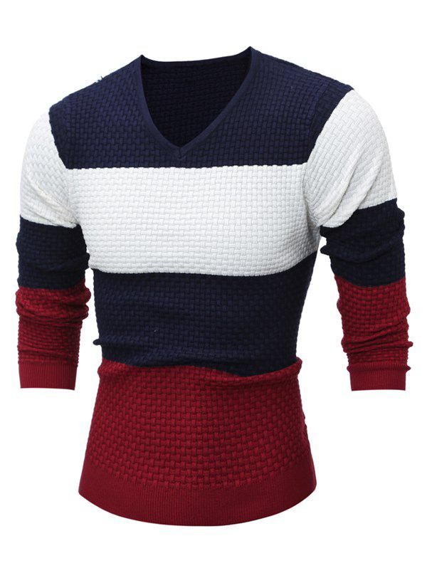 Outfits Textured V Neck Color Block Sweater