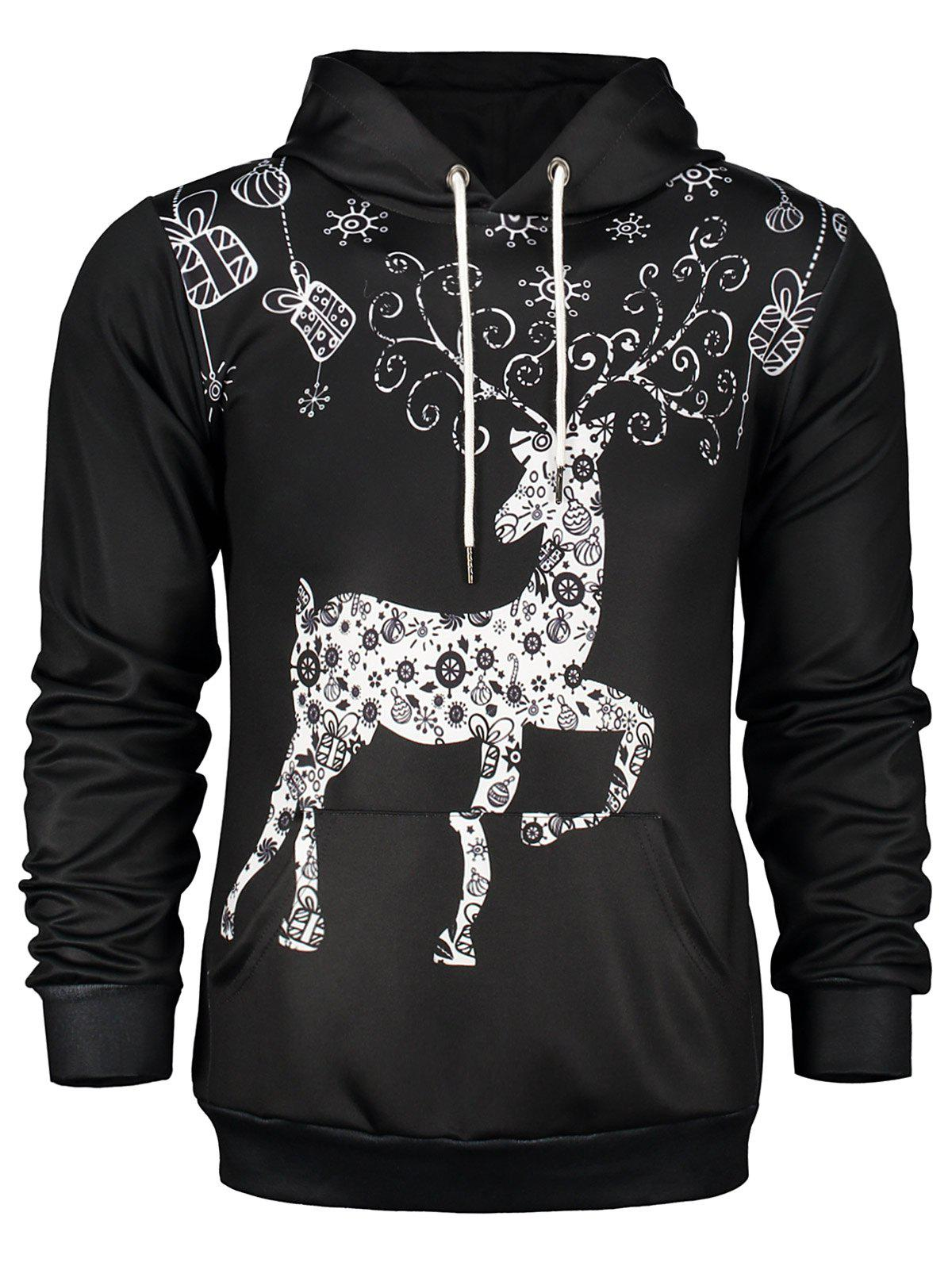 Discount Deer Print Pocket Front Christmas Black Hoodie Mens