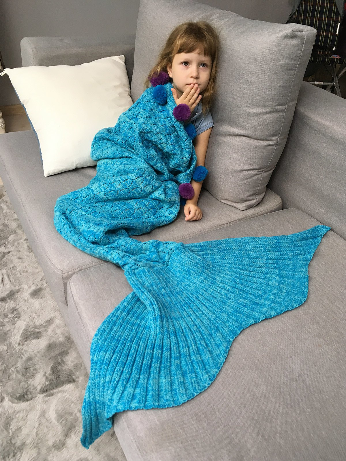 Fashion Pineapple Crochet Mermaid Blanket Throw with Pom Ball For Kids