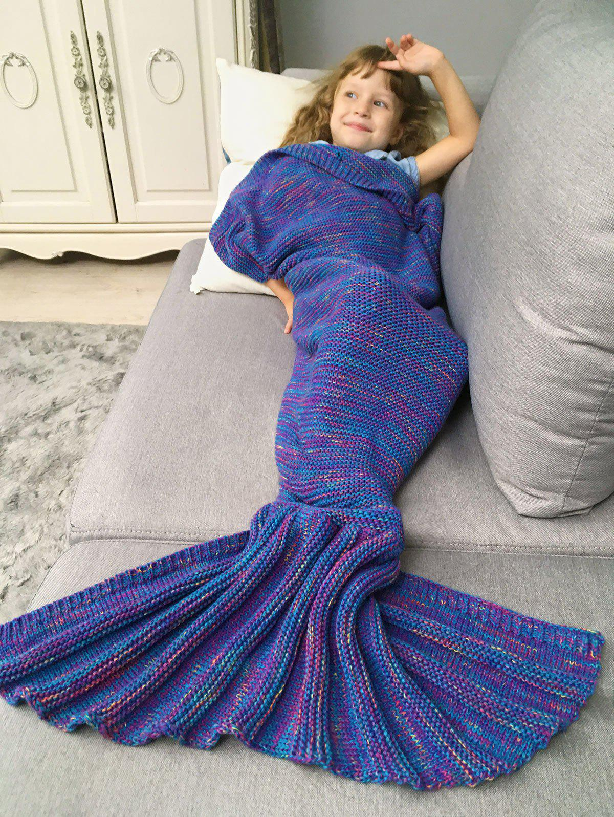 Cheap Crochet Knit Mix Color Mermaid Blanket Throw For Kids