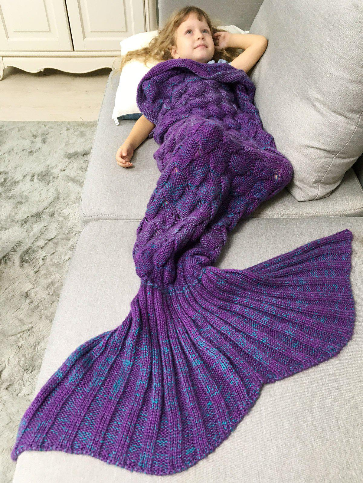 Crochet Knit Chunky Mermaid Blanket Throw For KidsHOME<br><br>Color: PURPLE; Type: Knitted; Material: Acrylic; Pattern Type: Solid; Size(L*W)(CM): 140*90CM; Weight: 0.720kg; Package Contents: 1 x Blanket Throw;